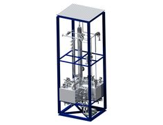 Skid packaged ammonia reduction scrubber. Flowrate 200 mc/h, ammonia load 30 Kg/h