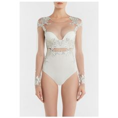 La Perla Peony OffWhite Bodysuit In Embroidered Stretch Tulle And Silk... (15 455 SEK) ❤ liked on Polyvore featuring intimates, shapewear, bodysuits and red