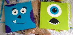 Monsters, Inc. Sully & Mike on canvas for a nursery (baby shower gift)