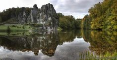 The Externsteine is a distinctive sandstone rock formation located in the Teutoburg Forest, near the town of Horn-Bad Meinberg in the Lippe district of the German state of North Rhine-Westphalia