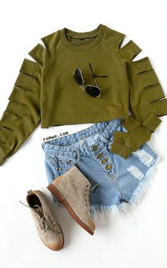Up to 90% Off - Army Green Ladder Cut Out Sleeve Raw Hem Sweatshirt with denim pant and short boots from romwe.com