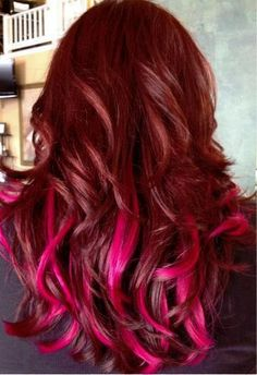 Deep pink curls/ red hair