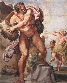 The Cyclops Polyphemus hurling rocks.