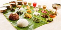 Het eten zoals dat in zuid india op een bananenblad geserveerd kan worden. Je eet zonder bestek.