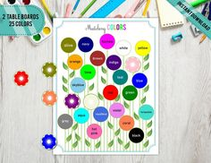 Matching and Learning many Colors, Flowers Colors Design, Homeschool Activity, Educational Material, Digital Grey And Coral, Yellow And Brown, Blue And Silver, Red Green, Navy And White, Velcro Dots, Bar Wrappers, Preschool Printables, Color Shapes