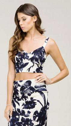 ANGL | Brushed Silhouette Print Crop Tank Top