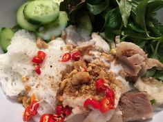 Cambodian/Khmer Recipes-Banh Hoi is a delicious vermicelli noodles salad that is enjoyed with grill meat, fresh green lettuce, mints, basil, and sweet and sour fish sauce as the dressing. You can also add roasted peanuts and coconut milk for more nutty and creamy taste.