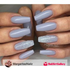 Grey Matte Coffin/Ballerina Nails by MargaritasNailz via Nail Art Gallery #nailartgallery #nailart #nails #gel #geldesign #matte #beauty #nailfashion #grey #fashion #gelnails #glitterfade #beautiful #prettynails