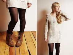 Sweater dress with tights & boots