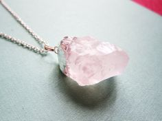 Rose Quartz Necklace Pink Gem Stone Sterling Silver Necklace Chain Long Layered Chunky Big Pendant Raw Natural Drusy Druzy Style Simple