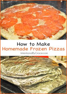 to Make Homemade Frozen Pizzas - Intentional By Grace How to make homemade frozen pizza for an easy meal! I love easy freezer meals!How to make homemade frozen pizza for an easy meal! I love easy freezer meals! Make Ahead Freezer Meals, Freezer Cooking, Frugal Meals, Quick Meals, Cooking Hacks, Meals To Freeze, Meals That Freeze Well, Premade Freezer Meals, Easy Meals To Make