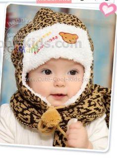 หมวกเด็ก +ผ้าพันคอ - ลายเสือดาว สีน้ำตาล - 259.00 บาท >>