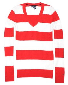 Tommy Hilfiger Women V-neck Cable Knit Logo Striped Sweater Pullover for $54.99