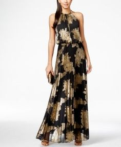 Get Greek-goddess gorgeous in this eye-catching pleated maxi dress from Msk, complete with a glamorous hardware-detail neckline and a gold foil print.   Polyester woven with metallic fibers; lining: p