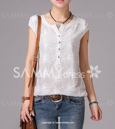 Stylish Women's Scoop Neck Embroidered Blouse
