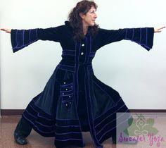 "Upcycled Stretch Velvet Elf Style Coat-""Music of the Night"" Gothic Katwise Inspired. $397.38, via Etsy."