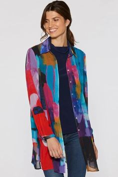 I Know You Know Chiffon Blouse by Claire Desjardins. #clairedesjardins #clairedesjardinsart #ClaireDesjardinsApparel #DesignerJacket #JeanJacket #cami #WomensApparel #WearableArt #designerclothing #apparel #designerapparel #artandfashion #fashionandclothing #artonclothing #abstractart #abstractpainting #designerclothes #womensapparel #Tunic #Dress #Jacket #MotoJacket #WomensTop #Scarf #Dress #Blouse