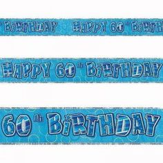 """Blue """"Happy 60th Birthday"""" banner. Size: 12ft. #Banner #BirthdayBanner #Blue #Birthday #Decoration #Party #PartyIdeas #PartyDecor #PartySupplies #PartyBanner #Partyngifts Happy 13th Birthday, 90th Birthday Parties, Happy 40th, Birthday Party Decorations, Decoration Party, Blue Birthday, Sparkle, Party Banners, Lettering"""