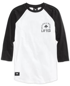 Lrg Men's Graphic-Print Raglan Cotton Shirt