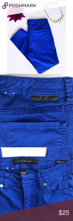 "Calvin Klein Skinny Crop Jeans Ultra Blue Wash. Power-stretch. 32"" long. Waist 14"" wide. Calvin Klein Jeans Skinny"
