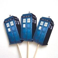 Doctor Who TARDIS Cupcake Toppers  Set of 24 Picks by TheBlissfulBaker, $16.00