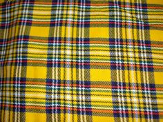 Vintage Tartan Fabric - Bright Yellow Wool Plaid - Checked Material - Retro Sewing Supplies
