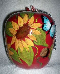 Bright Red Apple Gourd Birdhouse with Sunflowers and Butterflies