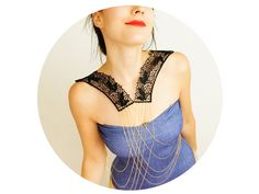 Rynalia // Handmade Black Body Harness Jewelry Vest Golden Chains Lace Necklace Applique Blouse Accessories Sparkling on Etsy, $62.00