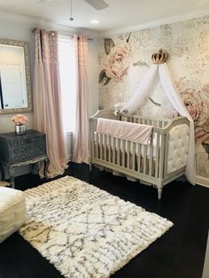 Curtain for Baby Girl Bedroom. Curtain for Baby Girl Bedroom. Baby Room Curtains with Pink Flowers or Perfect Window Baby Bedroom, Baby Room Decor, Nursery Room, Girls Bedroom, Bedroom Decor, Baby Rooms, Baby Girl Nurseries, Bedroom Ideas, Bedroom Curtains