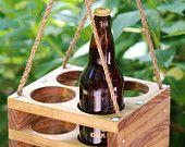 Handmade Wood 4-Bottle Beer Carrier for Bombers-- Homebrew Gift