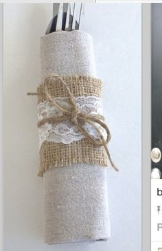 Fav- napkin and silverware wrapped in burlap and lace!