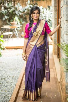 Have you wondered about wearing a thick border pattu saree? This gorgeous purple chanderi cotton silk saree is for those who would like equal parts of simplicity and grandeur for the occasion. Pair it with a contrast blouse in pink. Indian Attire, Indian Wear, Indian Outfits, Blouse Patterns, Blouse Designs, House Of Blouse, South Indian Sarees, Traditional Sarees, Half Saree