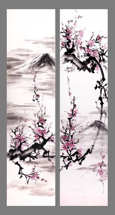[Sumie] Through the branches (diptych) by bsshka Chinese Painting Flowers, Japanese Ink Painting, Sumi E Painting, Asian Wallpaper, Tree Wallpaper, Japon Illustration, Collage Illustration, Sakura Koi Watercolor, Cherry Blossom Art