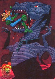 Satanus Vs Judge Dredd by Mick McMahon
