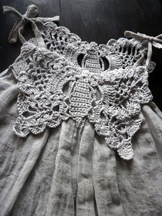Love this crochet and fabric dress #crochetdress #crochetinspiration