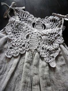 Love this crochet and fabric dress #crochetdress #crochetinspiration
