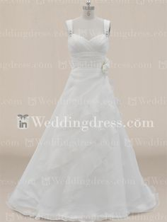 Simple Ruffled Organza Wedding Dress with Tank Straps BC218N