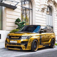 Gold chrome Range Rover with Mystere body kit Luxury Sports Cars, Top Luxury Cars, Luxury Suv, Sport Cars, Lamborghini, Ferrari, Landrover Range Rover, Range Rover Svr, Mini Car