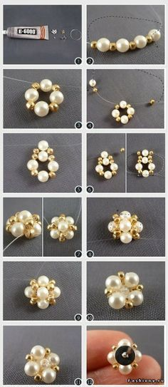 DIY Sewed Pearls Stud Earrings