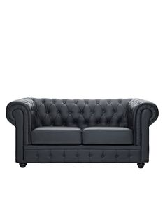 Chesterfield Leather Loveseat by Pearl River Modern NY at Gilt