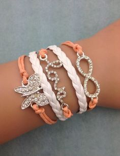 Fashion jewelry promotion store,Supply all kinds of cheap fashion jewelry DIY Peach Crystal Butterfly Set Bracelet - Cheap Fashion Jewelry, Fashion Bracelets, Fashion Earrings, Fashion Accessories, Women Jewelry, Cute Jewelry, Jewelry Shop, Jewelry Design, Jewelry Making