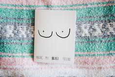 The funniest card ever - cartoon boobs - hand drawn - breast friend card - birthday card - love card  - funny - by BAECK + ANN