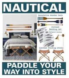 """Nautical - Paddle Your Way Into Style"" by latoyacl ❤ liked on Polyvore featuring interior, interiors, interior design, home, home decor, interior decorating, Authentic Models, Serena & Lily and bedroom"