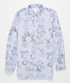 The Mickey shirt from Comme des Garçons SHIRT features an all over Disney motif print, rounded hem, front chest pocket and buttoned slit with a flat pleat at wrist.