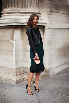 leather jacket & amazing emerald dress