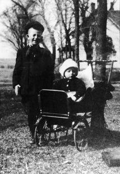 """John Wayne"" born May 26, 1907 as Marion Michael Morrison and his little brother, Robert.  Winterset, Iowa."