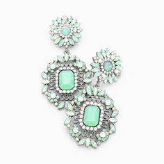 Just one of the many statement earrings we carry all on sale Prom Earrings, Statement Earrings, Green Opal, Chandelier Earrings, Mint, Turquoise, Crystals, Pageant, Floral