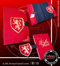 Casa Lannister - Protector de cuadernos Geek, confeccionado y pintado a mano :)