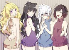 Team RWBY all in color coded Virgin-killer sweaters Rwby Blake, Rwby Fanart, Rwby Anime, Anime Sexy, Anime Sensual, Rwby Comic, Moe Manga, Anime Manga, Anime Art