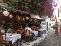 Beautiful outdoor dining area of a restaurant in Mykonos